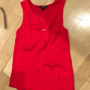 Express red satin tank with silky cotton back XS